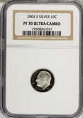 Proof Roosevelt Dimes, 2004-S 10C Silver PR70 Ultra Cameo NGC. PCGS Population (121/0).Numismedia Wsl. Price for NGC/PCGS coi...
