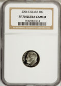 Proof Roosevelt Dimes, 2006-S 10C Silver PR70 Ultra Cameo NGC. PCGS Population (106/0).(#95317)...