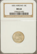 Seated Dimes, 1855 10C Arrows MS64 NGC....