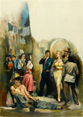 Mainstream Illustration, AMERICAN ARTIST (20th Century). Outside the Club, paperbackcover. Oil on board. 35.5 x 25.5 in.. Not signed. ...