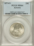 Seated Quarters, 1874-S 25C Arrows MS64 PCGS....