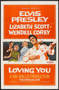 """Loving You (Paramount, 1957). One Sheet (27"""" X 41"""") and Lobby Card (11' X 14""""). Elvis Presley. ... (Total..."""