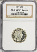 Proof Barber Quarters: , 1897 25C PR68 Ultra Cameo NGC. NGC Census: (4/0). (#95683)...