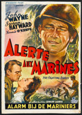 """Movie Posters:War, The Fighting Seabees (Republic, Early 1950s). Post War Belgian (14"""" X 18.5""""). War.. ..."""