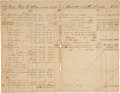 "Miscellaneous:Ephemera, Republic of Texas: Mercantile Record. Four pages, 8"" x 12"", withdates recorded between January 6, 1837, and October 15, 183..."
