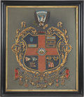 Military & Patriotic:Civil War, Beautifully Handpainted Escutcheon of Famed Zouave Leader Gen. Charles Collis with Family Scrapbook.... (Total: 2 Items)