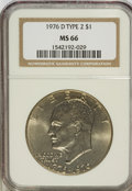 Eisenhower Dollars: , 1976-D $1 Type Two MS66 NGC. NGC Census: (234/10). PCGS Population (696/23). Mintage: 82,179,568. Numismedia Wsl. Price for...