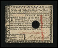 Colonial Notes:Massachusetts, Massachusetts May 5, 1780 $20 Choice About New....