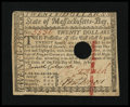 Colonial Notes:Massachusetts, Massachusetts May 5, 1780 $20 Extremely Fine-About New....