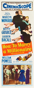 """Movie Posters:Comedy, How to Marry a Millionaire (20th Century Fox, 1953). Insert (14"""" X36"""").. ..."""