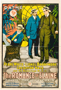 "The Romance of Elaine (Pathé, 1915). One Sheet (27"" X 41"") Chapter 9 -- ""The Life Chain."""