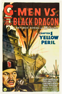 "G-Men vs. the Black Dragon (Republic, 1943). One Sheet (27"" X 41"") Chapter One -- ""The Yellow Peril.""..."