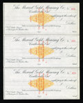Miscellaneous:Other, Coulterville, CA- Merced Gold Mining Co. Checks. Three Examples..... (Total: 3 items)