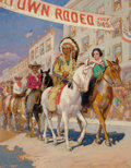 Mainstream Illustration, EDWARD VINCENT BREWER (American, 1883-1971). Rodeo Parade.Oil on board. 40.5 x 31 in.. Signed lower right. ...
