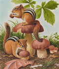 Mainstream Illustration, NED SEIDLER (American, 20th Century). Chipmunks EatingMushrooms. Watercolor on paper. 7 x 6 in.. Not signed. ...
