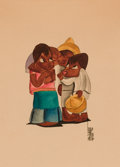Mainstream Illustration, LEO POLITI (American, 1908-1996). Four Children, 1936.Watercolor on paper. 15 x 11 in.. Signed lower right. ...
