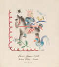 Mainstream Illustration, HELEN LEITTA DOWD (American, 1908-1982). Girl Riding a HobbyHorse, November 28, 1940. Watercolor. 9 x 8 in.. Signed low...