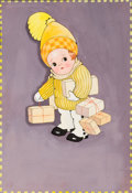 Mainstream Illustration, CHLOE PRESTON (English, 1887-1969). Child with Packages.Mixed-media on paper. 15 x 10 in.. Not signed. ...
