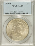 Peace Dollars: , 1925-S $1 AU50 PCGS. PCGS Population (46/5247). NGC Census:(60/3875). Mintage: 1,610,000. Numismedia Wsl. Price for NGC/PC...