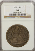 Seated Dollars: , 1859-S $1 F12 NGC. NGC Census: (5/103). PCGS Population (4/169).Mintage: 20,000. Numismedia Wsl. Price for NGC/PCGS coin i...
