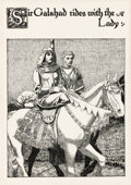 Paintings, HOWARD PYLE (American, 1853-1911). Sir Galahad Rides with the Lady, The Story of the Grail and the Passing of Arthur, 19...