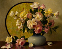 A. D. GREER (American, 1904-1998) Vase of Roses Oil on canvas 24 x 30 inches (61.0 x 76.2 cm)