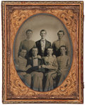 Photography:Ambrotypes, Great Civil War Period Half Plate Ambrotype Portrait of Five West Point Cadets, including Cadet Captain, and future Major Gene...