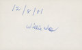 Autographs:Index Cards, 1981 Willie Wells Signed Index Card. ...