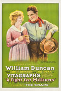 """Movie Posters:Serial, A Fight for Millions (Vitagraph, 1918). One Sheet (27"""" X 41"""") Chapter -- """"The Snare."""". ..."""