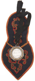 Military & Patriotic:Pre-Civil War, Absolutely Exquisite Gold and Silver American Shooting Medal, Presented July 4th 1835, with the Original Custom Folk Art Stora...