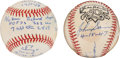 Autographs:Baseballs, Warren Spahn and John Sain Single Signed Inscription Baseballs Lotof 2.... (Total: 2 items)
