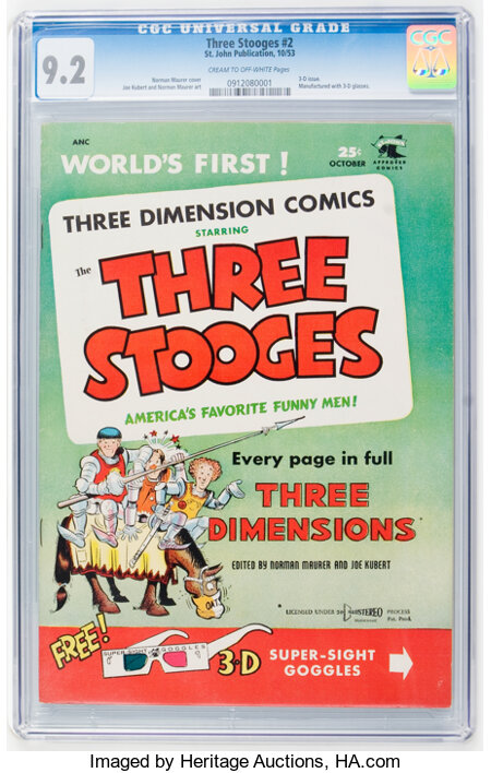 Three Stooges #2 (St. John, 1953) CGC NM- 9.2 Cream to off-white pages....