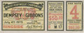 Boxing Collectibles:Memorabilia, 1923 Dempsey vs. Gibbons Full Ticket Replica Signed by Dempsey....