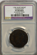 1785 COPPER Connecticut Copper, Bust Right--Planchet Flaw--VF20 NCS. VF20 Details. M. 4.4-C, R.3. NGC Census: (0/0). PCG...