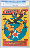 Golden Age (1938-1955):Adventure, Contact Comics #10 (Aviation Press, 1946) CGC VF- 7.5 Off-white to white pages....