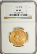 Indian Eagles: , 1932 $10 AU55 NGC. NGC Census: (15/36992). PCGS Population(49/35059). Mintage: 4,463,000. Numismedia Wsl. Price for NGC/PC...