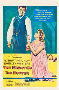 "The Night of the Hunter (United Artists, 1955). Autographed One Sheet (27"" X 41"")"
