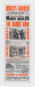 "Advertising:Paper Items, Advertising: Nineteenth Century Lithographic Poster for TheBandit King, a Melodrama, Circa 1883. 14½"" x 41¾"" mo..."