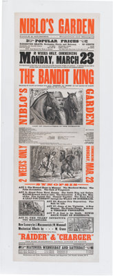 Advertising: Nineteenth Century Lithographic Poster for The Bandit King, a Melodrama, Circa