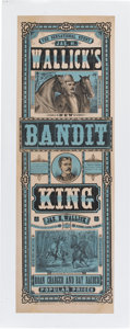 "Advertising:Paper Items, Advertising: Nineteenth Century Lithographic Poster for The Bandit King, a Melodrama, Circa 1886, 14."" x 42¼..."