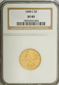 Liberty Half Eagles, 1848-C $5 XF45 NGC....