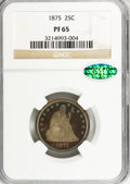Proof Seated Quarters, 1875 25C PR65 NGC. CAC....