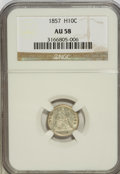 Seated Half Dimes: , 1857 H10C AU58 NGC. NGC Census: (49/557). PCGS Population (44/422).Mintage: 7,280,000. Numismedia Wsl. Price for NGC/PCGS ...