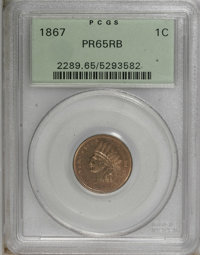 1867 1C PR65 Red and Brown PCGS. PCGS Population (32/5). NGC Census: (38/9). Mintage: 625. Numismedia Wsl. Price for NGC...