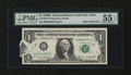 Error Notes:Foldovers, Fr. 1907-B $1 1969D Federal Reserve Note. PMG About Uncirculated 55EPQ.. ...