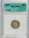 Bust Dimes, 1836 10C VF20 ICG. JRCS#2. NGC Census: (0/184). PCGS Population(3/188). Mintage: 1,190,000. Numismedia Wsl. Price for NGC/...