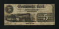 Obsoletes By State:Rhode Island, Providence, RI- Westminster Bank $5 May 1, 1853. ...