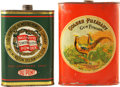 Western Expansion:Cowboy, Gunpowder Tins: Golden Pheasant and Ballistite Smokeless ShotgunPowder. The Golden Pheasant tin is red with an image of two...(Total: 2 Items)