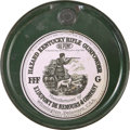 "Western Expansion:Cowboy, Gunpowder Keg: Hazard Kentucky Rifle Gunpowder. 9"" x 7¾"" indiameter. The tin keg is green with a paper label on top featuri..."
