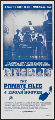 "The Private Files of J. Edgar Hoover (Roadshow, 1977). Australian Daybill (13"" X 30""). Drama"